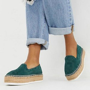 2020 Faux Suede Espadrilles Chaussures Slip-on Casual Mocassins femmes plate-forme Ballerines Ladies chaussures confortables Drop Shipping