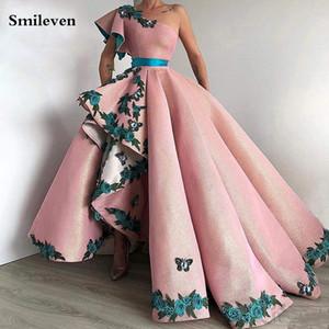 Smileven árabe Dubai Prom Vestidos A Flores Linha 3D formais Partido Vestidos de um ombro Vestidos para ocasiões especiais