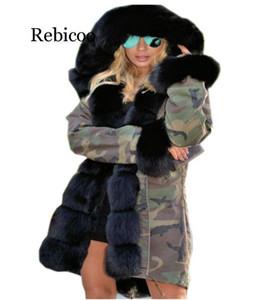 Rebicoo зимней куртки женщины новая длинные утепленной шуба большого искусственный мех воротник с капюшоном ветровкой толстой верхней одеждой Stree стиль