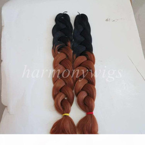 L Kanekalon Jumbo Synthetic Braiding Twist Hair Folded 32inch 165grams Black &Burgundy Ombre Two Color Xpression Hair Extension