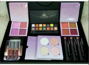 Auf Lager Hot Make-up Schönheit Lippenstift Lidschatten Glow set Highlighter Blush Augenbrauenstift Voll Box Weihnachtsgeschenk ePacket Versand
