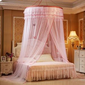Rodada Hung Mosquito Net Para cama de dossel Adultos Cama Cortina de malha Estudantes Beliche Canopy Netting moustiquaire elegante do laço