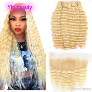Indian Raw Virgin Hair 3 Bundles With 13X4 Lace Frontal Blonde Deep Wave Curly 613 Color New Products With Baby Hair Ear To Ear Lace Frontal