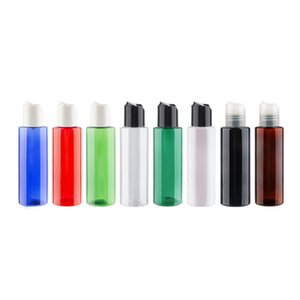 120ML إفراغ الملونة مستحضرات التجميل التغليف البلاستيكية الزجاجات مع القرص الأعلى كاب 4 OZ PET الصحافة كاب زجاجة لمن الضروري النفط الصابون السائل