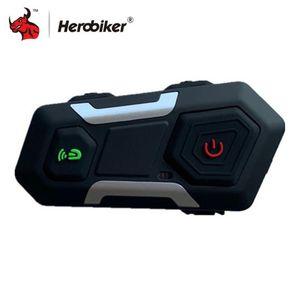 HEROBIKER impermeável motocicleta Intercom Helmet Headset Capacete Speaker Interphone Moto Wireless Headset Intercomunicador 1200M