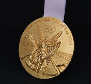 Последние Токио 2020 олимпийское золото / серебро / бронзовые медали Полный комплект с шелковыми лентами, диаметр 85мм Вес нетто 300г в качестве подарков / сувениров
