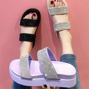 EOEODOIT Verão Chinelos Plano Platform Sandals Elevador sapatos femininos Moda Rhinestone Bling Shoes férias arrasta Slides