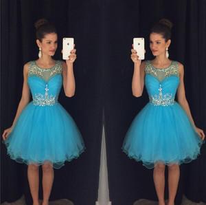 Turquesa Vestidos de fiesta Vestidos de fiesta cortos 2019 Falda hinchada Vestidos de cóctel Vestidos de tul con cuentas de dulce corazón Mini vestido de graduación