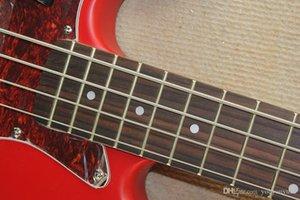 Canhoto Baixo Elétrico Guitarra com Braço de Jacarandá Vermelho, 4 Cordas, Vermelho Concha De Tartaruga Pickguard, oferecendo Serviços perso