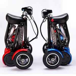 새 미니 성인 휴대용 접이식 전기 스쿠터 스쿠터 완벽한 여행 변압기 4 륜 접는 이동성을 향상