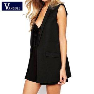 2019 de moda de verano nuevo de las mujeres Thin Solid Delgado Negro Chaleco nocturno a las mangas de cuello abierto señoras puntada algodón ocasional del chaleco