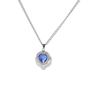 Crystal Blue Heart Cremation Urn Necklace Jewelry Memorial Keepsake colgante de ceniza colgante collar para mujeres hombres envío gratis