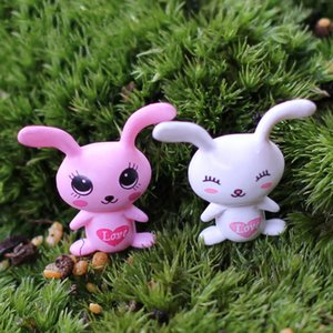 XBJ133 Mini 8pcs Love big ears rabbit decoration supplies moss micro landscape deco Garden deco Creative handicrafts
