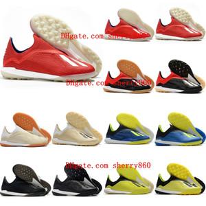 2020 en kaliteli kırmızı calcio 18 + İÇİNDE TF kapalı futbol krampon deri futbol ayakkabıları çim scarpe futbol ayakkabıları X Tango mens