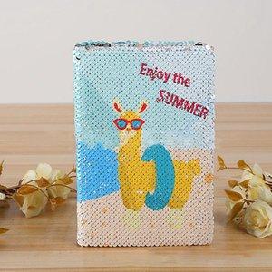 Sequin Cactus Mermaid Lamb Unicorn Notebook de dois lados Diário Criativo Agenda escrever artigos de papelaria