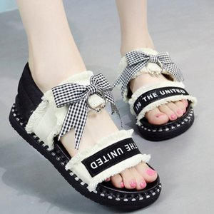 Plaid Bowknot letter canvas gladiator sandalias women flip flops student shoes woman muffins elastic band lattices sandals 2020