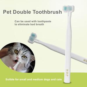 Útiles de limpieza para los Mascotas cepillo de dientes la cabeza del doble de dientes Oral Health Retire Suministros Cálculo mascota a casa