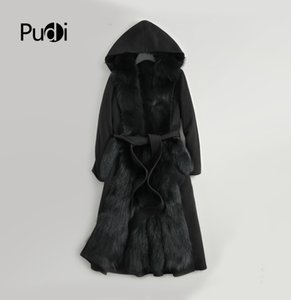 Women real wool fur coat parka fur liner female Winter natural jacket long trench overcoats ZY178-2