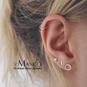 e-Manco korean stainless steel earrings set minimalist stud earrings for women hypoallergenic stainless steel jewelry