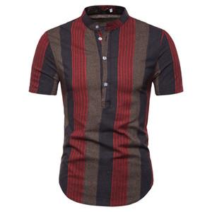 Stripe Stampa Mens camice casuali Moda Estate manica corta con pannelli Mens progettista delle camice Abbigliamento casual Maschi