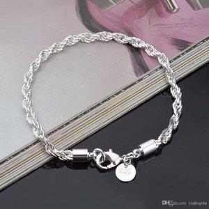 4 mm Argent 925 Twist Corde Bracelet chaîne Chaînes de mode pour hommes, femmes de soirée de mariage bijoux bracelet bricolage accessoires 8Inch