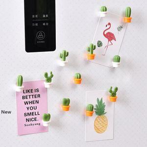 6pcs / set Cactus frigorifero autoadesivo sveglio Mini Pianta grassa Magneti Frigo Sticker messaggio immagine Home Utensili HHA946