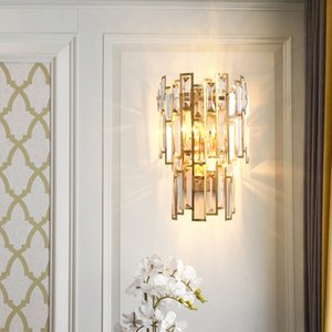 New design contemporary  W 23cm x H 38cm crystal wall lamps living room corridor bedside gold finish led wall sconces lights