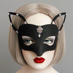 Halloween Black Fox Half-face Mask the Uk Masquerade Silver Rosebud Rhinestone Deco Half-Face Fox Máscaras para meninas