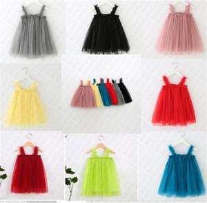 D61804 INS meninas vestidos de verão Bebés Meninas vestido sem mangas Suspenders saia de malha vestido Crianças Lace Princesa saia tutu Pettiskirt 8 cores