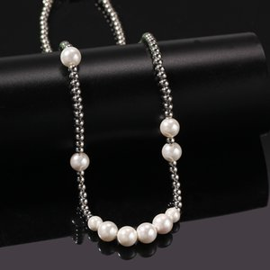 Hip Hop Stainless Steel Pearl Bead Chain Necklace for Men Women Gift Rap Clavicle Chain Jewelry
