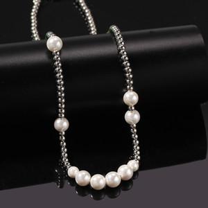 Хип-хоп из нержавеющей стали Pearl бисер ожерелье цепи для мужчин Женщин подарков Rap ключицы Цепных ювелирных изделий