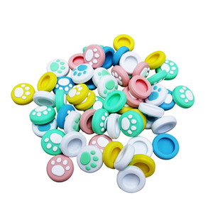 Yedek Silikon Kedi Pençesi Joystick Kontrolörü Tutma thumbstick Düğmeler Kapak Shell için Nintend 17 renk geçiş Caps
