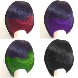 "Moda corta corta cortes de pelo mezcla color de mezcla de dos tonos ombre negro verde / rojo / púrpura 10 ""pelucas de pelo rizado pelucas de calor resistente al calor peluca sintética de la cabello natural"