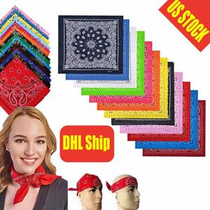 Stati Uniti Stock multifunzione Paisley Bandana Foulard sciarpa Fiore anacardio Hip Hop Piazza cotone fascia sciarpa Fazzoletto per le donne gli uomini FY4050