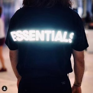 19ss Essentials Fear Of Gold 3M Reflective Casual Tee manica corta da uomo Fashion Street Donne Skateboard fredda di estate T-shirt HFLSTX492