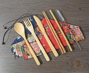 new Bamboo Cutlery Set Portable Flatware Sets 7PCS SET Knife Fork Spoon Straw Chopsticks Student Tableware Set Travel Dinnerware