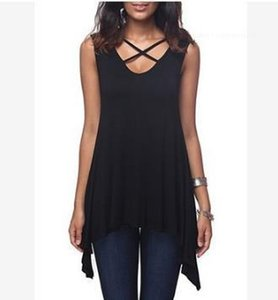 Tank Irregolari Tank Donne Summer Tops Front Chest Cross Snow Syless Tshirt Casual V Neck Solid Solid