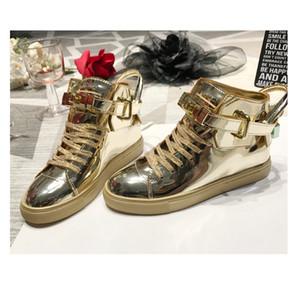 Snow Boots Женщины 2019 Осень Ранняя зима толстым дном Замок Boots Высокий Верхний совет обувь Зеркало Моды Ботильоны