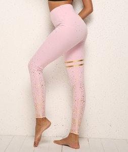 여성 바지 골드 스탬핑 인쇄 최대 스타킹 피트니스 여성 조깅 체육관 신축성 높은 허리 요가 바지 팜므 스포츠 압축 레깅스를 밀어