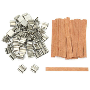 50Pcs lot 6mm 8mm 12.5mm 13mm Wooden Candles Wick with Sustainer Tab Candle Wick Core for Candle Making Supply Soy Parffin Wax