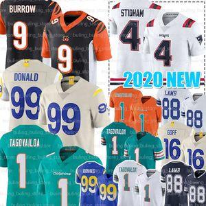 9 Joe Burrow Jersey 99 Aaron Donald 1 Tua Tagovailoa 4 Jarrett Stidham 88 CeeDee Lamb 16 Jared Goff Calcio Maglie