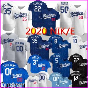 2020 Nuevo 35 Cody Bellinger superior Mike Jersey 22 Clayton Kershaw 50 Mookie Betts personalizada Piazza Justin Turner Machado Hernández jerseys del béisbol