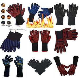BBQ Gloves 300-500 Centigrade Extreme Heat Resistant Aramid Silicone Microwave Kitchen Gloves Cooking Grill Oven Gloves