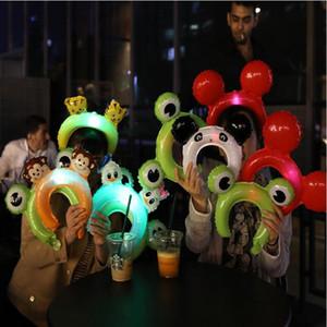 LED Cartoon lumineux Bandeau Mode Grenouille de singe Oreilles de lapin Cartoon Forme Bandeaux Circulation Utilisez gonflable Bandeau WY487Q