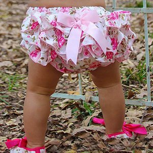 Child Baby Girls PP Clothing Floral Silk Bow satin shorts Ruffle Diaper Cover Bloomer baby satin Panties for 0-24M