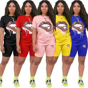 Женщины Summer Leopard Lip печати 2pcs Идущие Костюмы пуловер Топы Шорты Одежда Комплекты Дизайнерская высокой талией костюмы