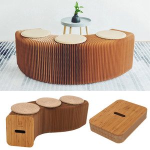 Design moderne papier pliant Tabouret longue Banc Canapé Chaise Papier Kraft détente Banc Tabouret Relaxant Chaise de bureau avec 3 Pads en cuir