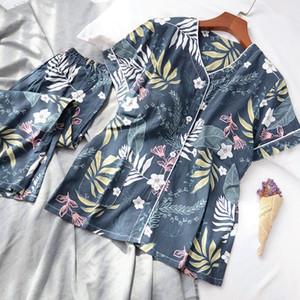 Женщины 100% хлопок V шеи Пижамы Комплект с коротким рукавом Ночное проложенный Топ + брюки Спящие Wear Loungewear