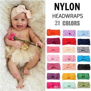 Bohemia vendas de nylon super suave Bowknot con banda de sujeción para bebés infantil turbante arco headwraps Niño Accesorio para el pelo PhotoProp 16 * 10cm