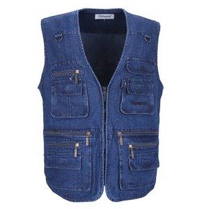 Denim Men Vest BaumwollSleeveless Jacken blaue beiläufige Angeln Weste mit vielen Taschen plus Größe 10XL Im Freien Weste Männlich Weste